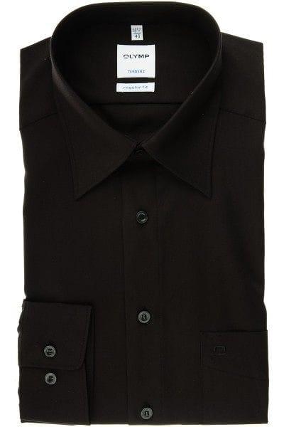 Olymp Hemd - Regular Fit - schwarz, Einfarbig