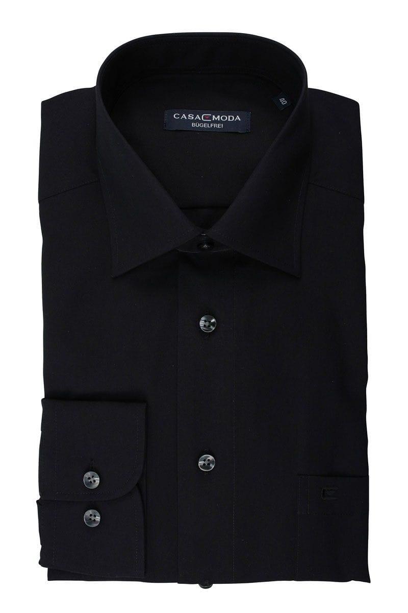 Casa Moda Hemd - Comfort Fit - schwarz, Einfarbig