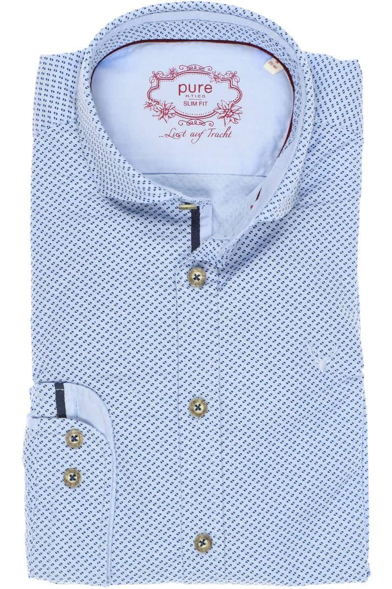 Pure Slim Fit Trachtenhemd marine/blau, Gemustert