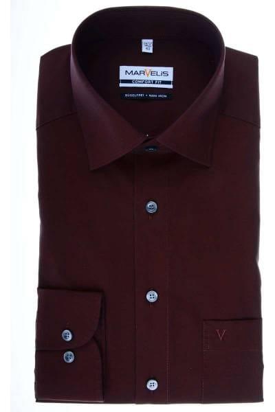 Marvelis Comfort Fit Hemd dunkelrot, Einfarbig