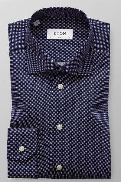 Eton Hemd - Slim Fit - schwarz/weiss, Gepunktet