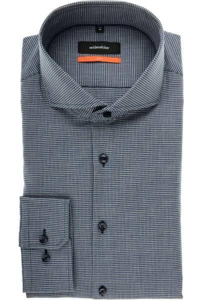 Seidensticker Slim Fit Hemd marine/grau, Hahnentritt