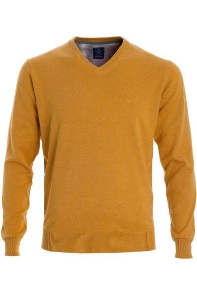 Redmond Strickpullover V-Ausschnitt gelb, einfarbig