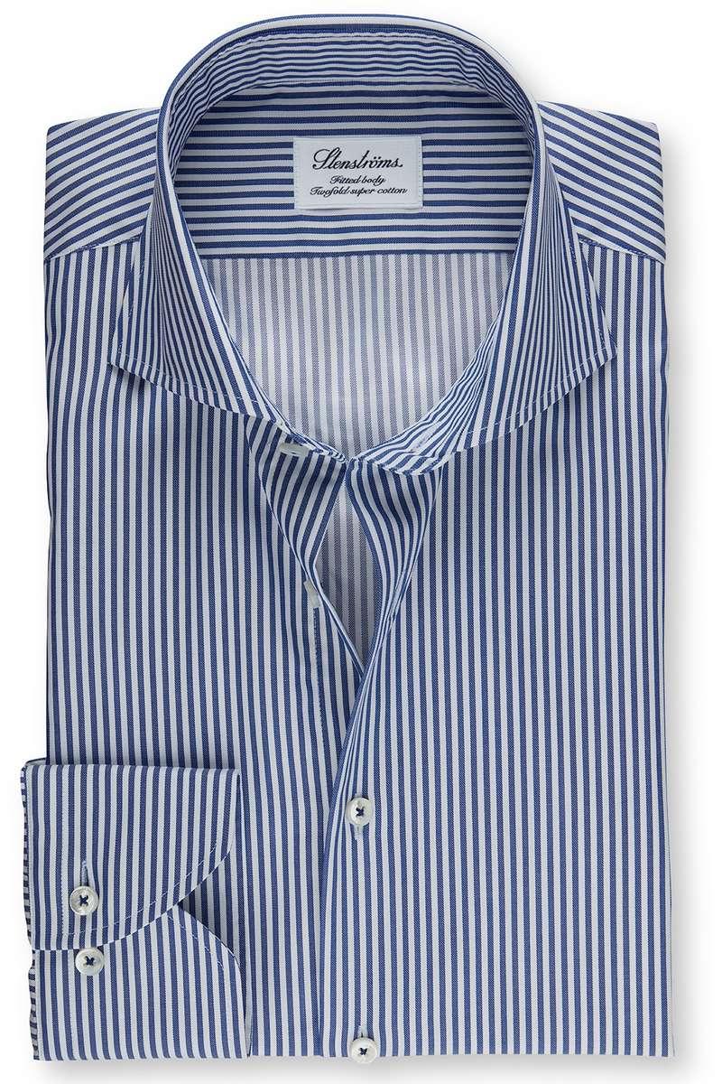Stenströms Fitted Body Hemd blau, Gestreift 46 - XXL