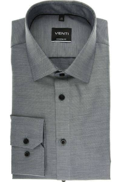 Venti Modern Fit Hemd schwarz, Faux-uni