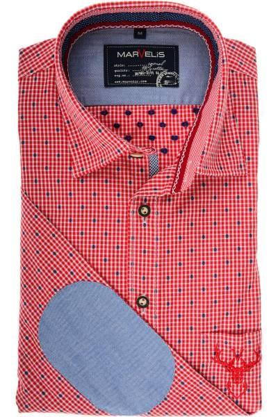 Marvelis Modern Fit Trachtenhemd rot/weiss, Vichykaro