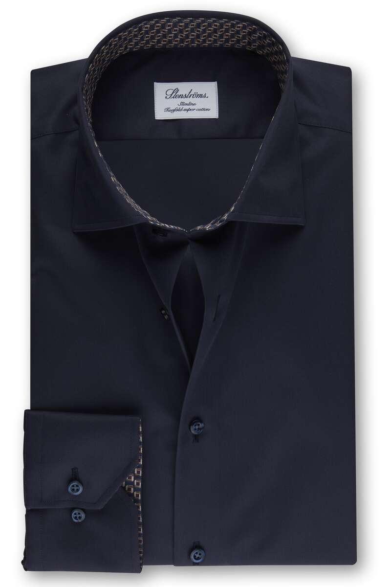 Stenströms Slimline Hemd nachtblau, Einfarbig 40 - M