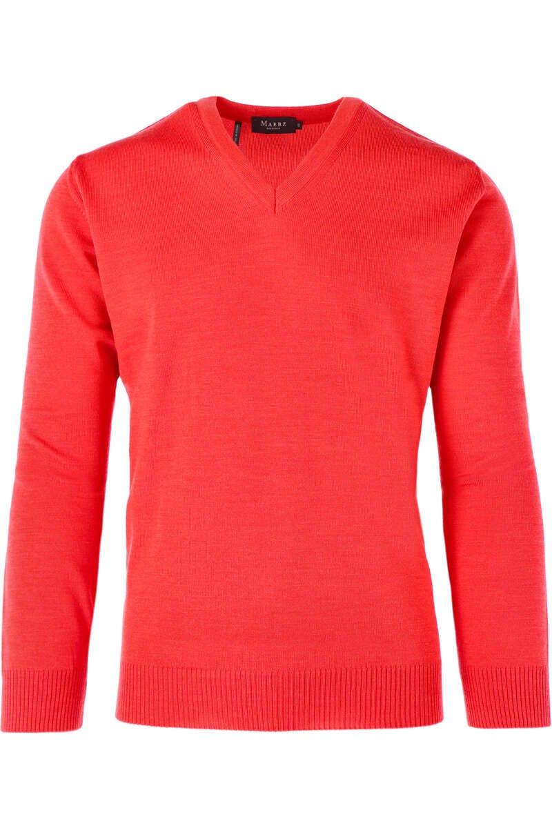Maerz Classic Fit Pullover V-Ausschnitt orangerot, einfarbig 50