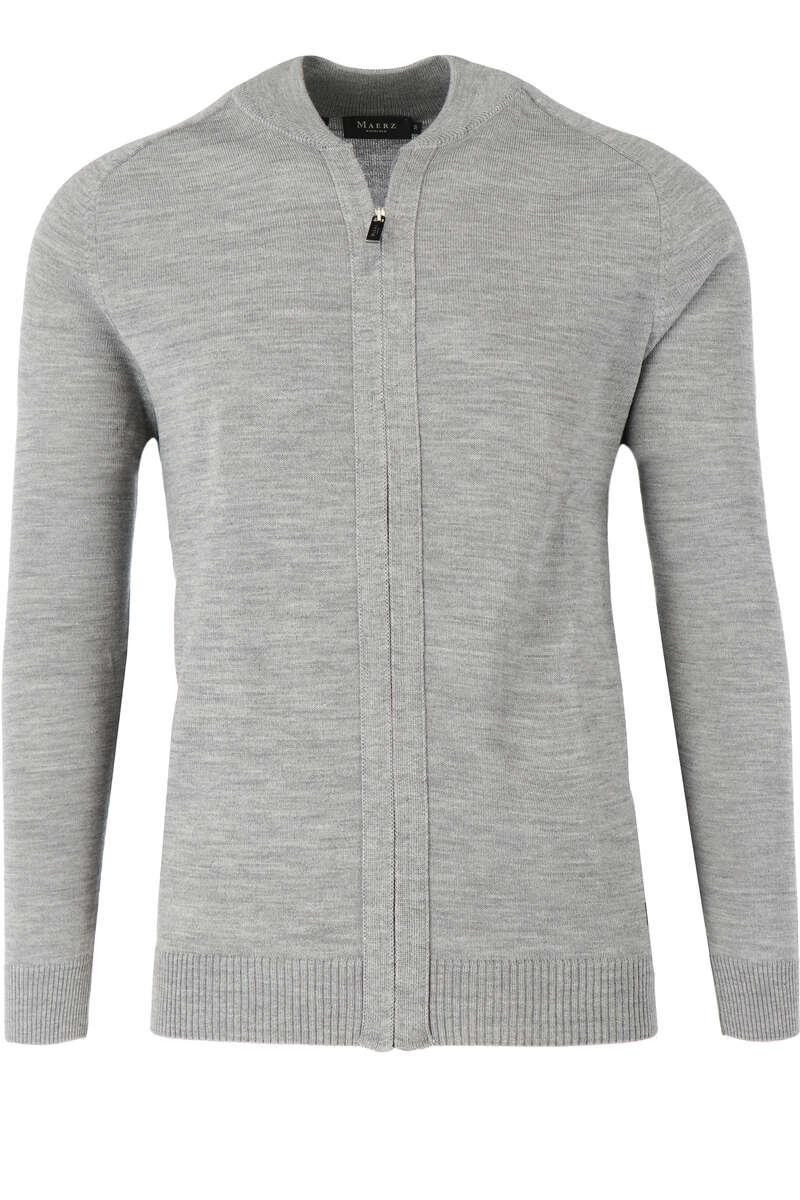 Maerz Classic Fit Cardigan Zip grau, einfarbig 50