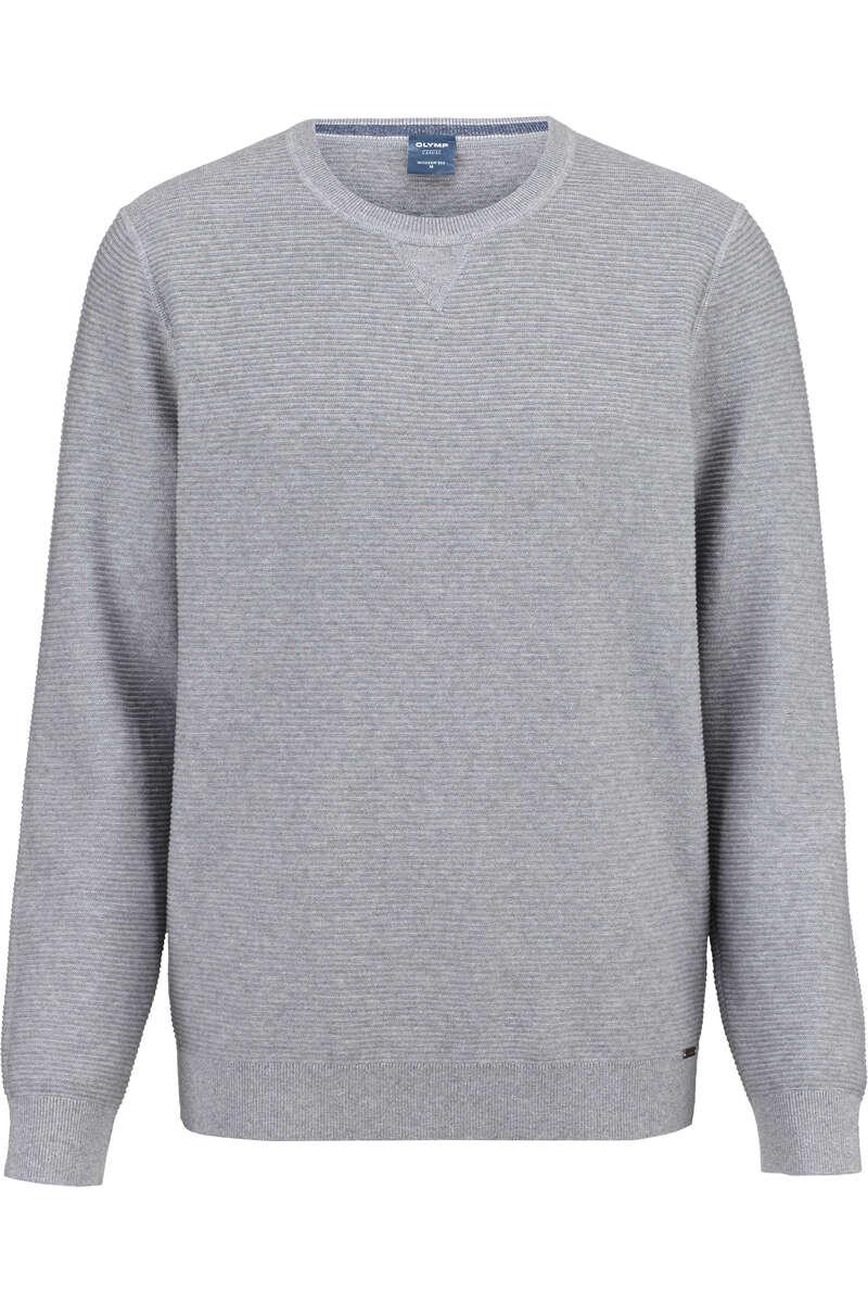 OLYMP Casual Modern Fit Pullover Rundhals grau, strukturiert L