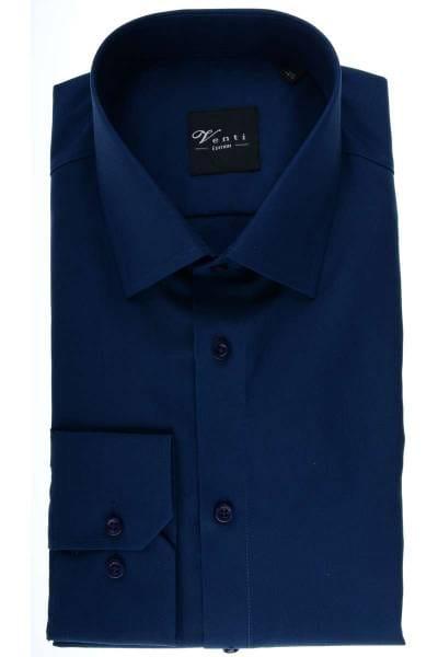 Venti Slim Fit Hemd dunkelblau, Einfarbig