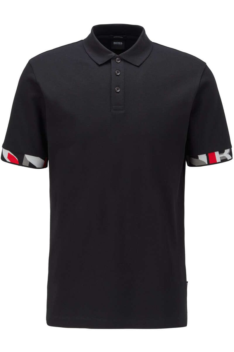 BOSS Regular Fit Poloshirt schwarz, Einfarbig M