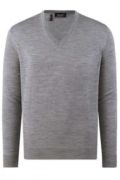 März Strick - V-Ausschnitt Pullover - grau