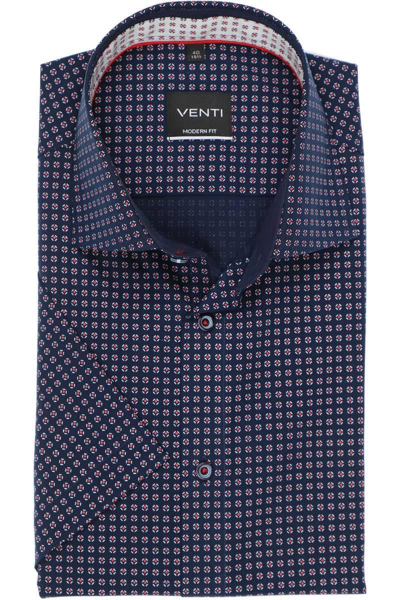 Venti Modern Fit Hemd blau, Gemustert