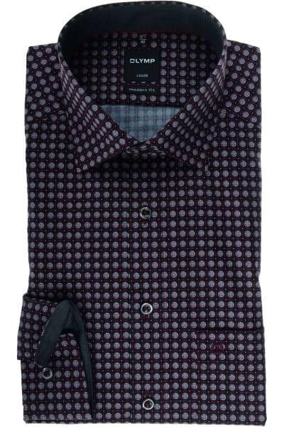 Olymp Luxor Modern Fit Hemd chianti, Gemustert