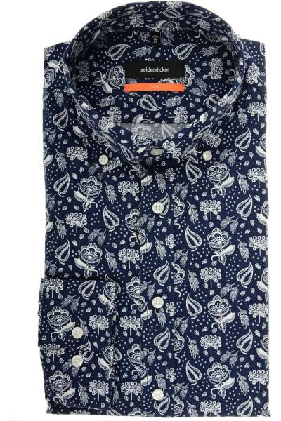 Seidensticker Slim Fit Hemd dunkelblau/weiss, Gemustert