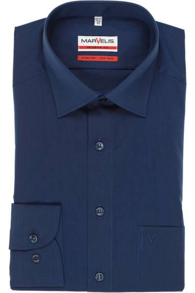Marvelis Hemd - Modern Fit - dunkelblau, Einfarbig