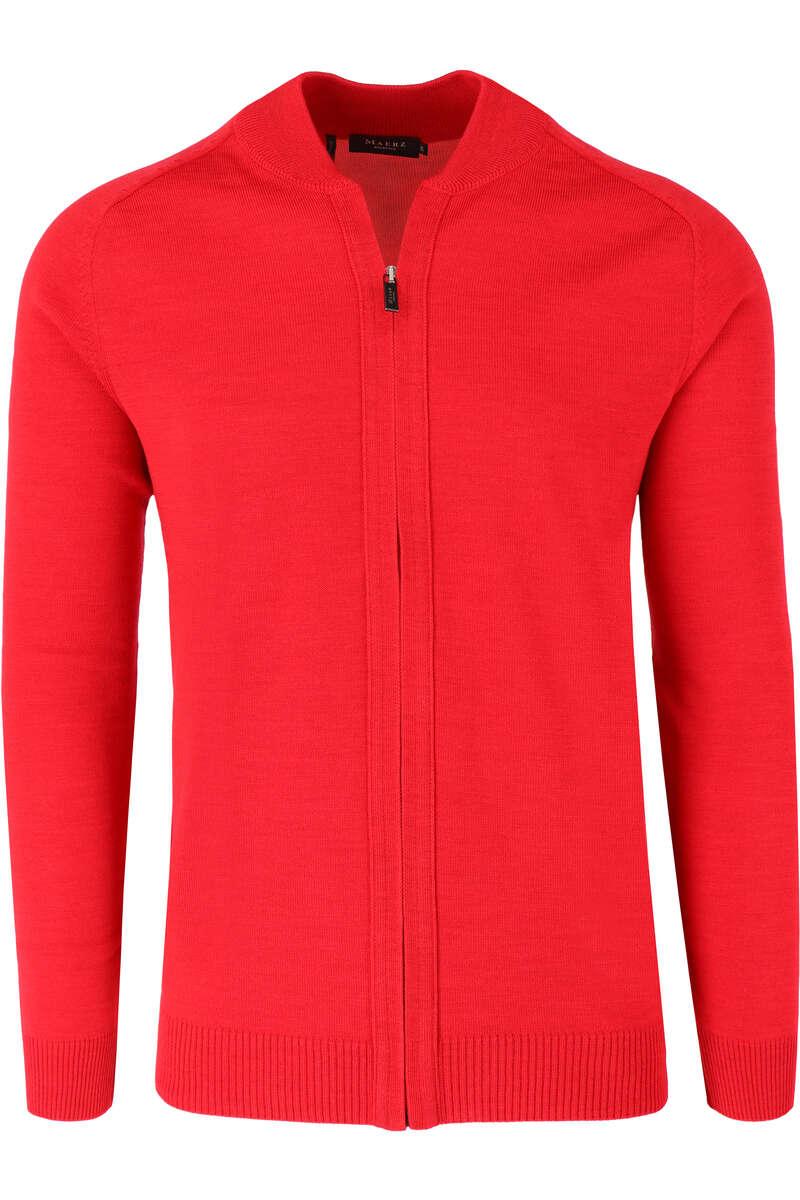 MAERZ Classic Fit Cardigan Zip rot, einfarbig 48