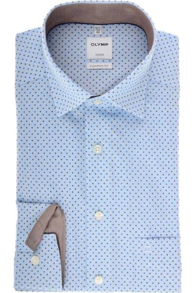 Olymp Luxor Comfort Fit Hemd blau/braun, Gemustert