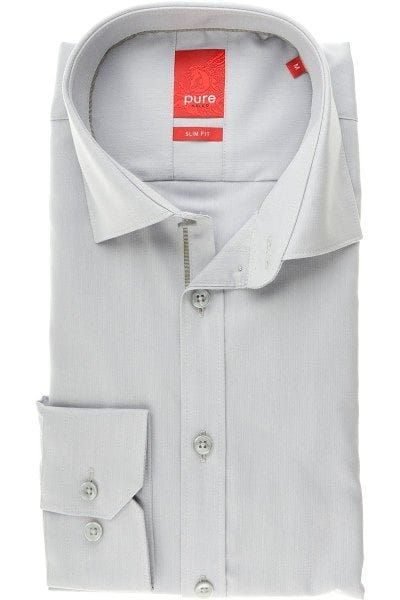 Pure Hemd - Slim Fit - silber, Einfarbig