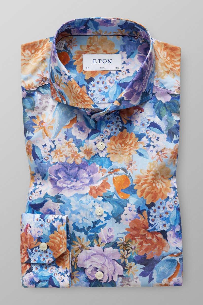 ETON Slim Fit Hemd blau, Blumen 41 - L
