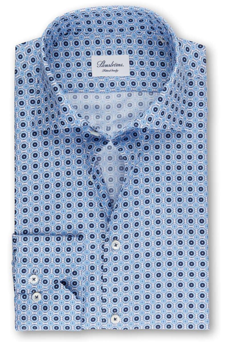 Stenströms Fitted Body Hemd blau/weiss, Gemustert (extra langer Arm) 39 - M