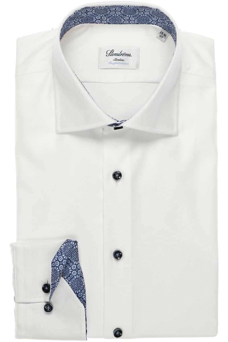 Stenströms Slimline Hemd weiss, Einfarbig 43 - XL