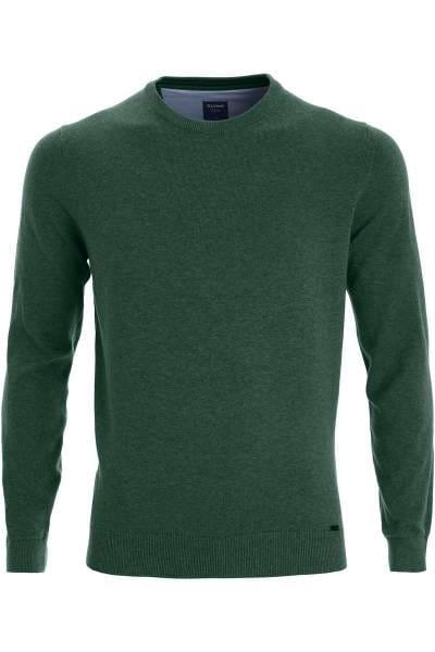 OLYMP Modern Fit Strickpullover Rundhals grün, einfarbig