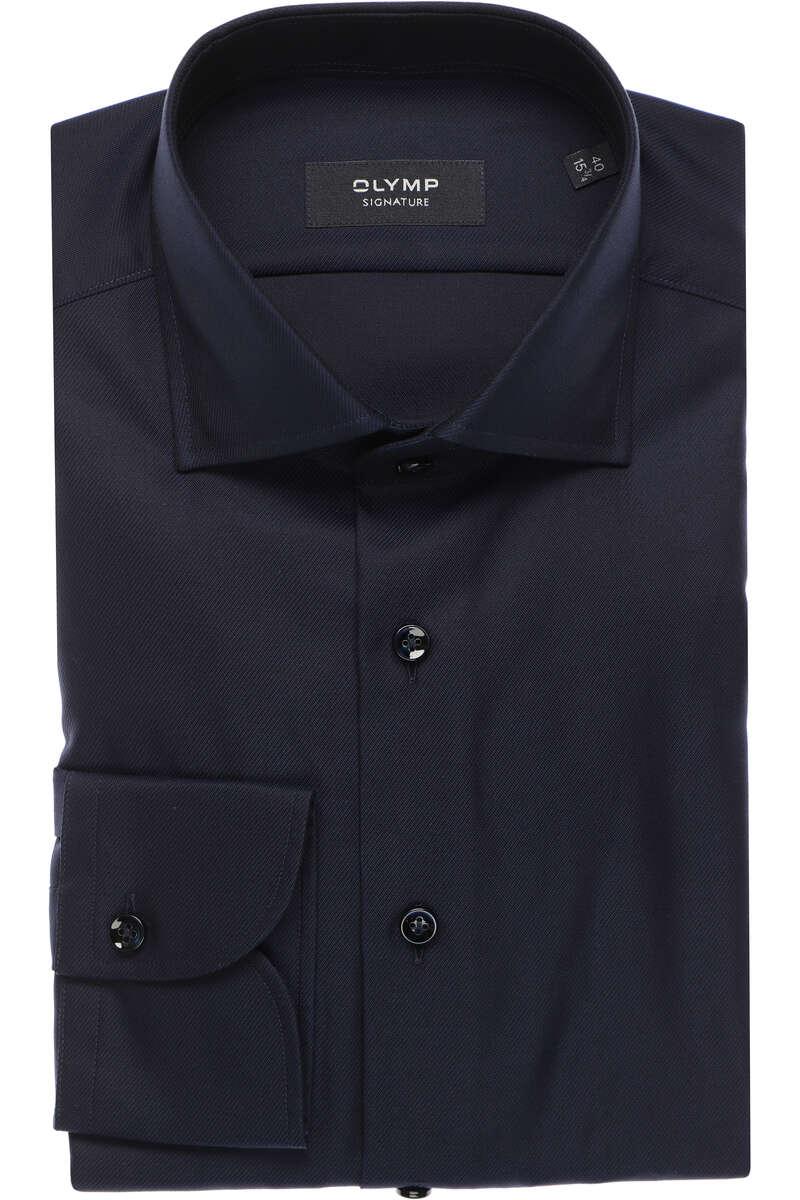 OLYMP SIGNATURE Tailored Fit Hemd nachtblau, Einfarbig 40 - M