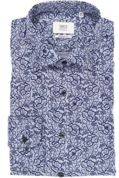 ETERNA 1863 Modern Fit Hemd dunkelblau, Gemustert