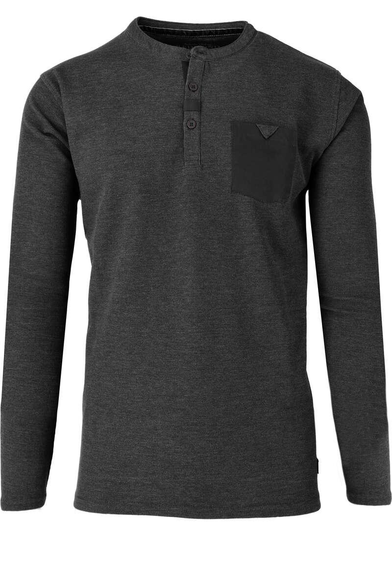 Redmond T-Shirt Henley grau, melange S