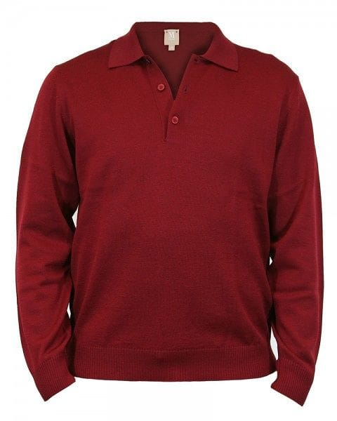 MAERZ Strickpullover Polo Knopf - bordeaux