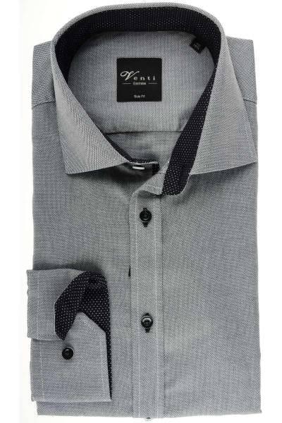 Venti Slim Fit Hemd grau/weiss, Strukturiert
