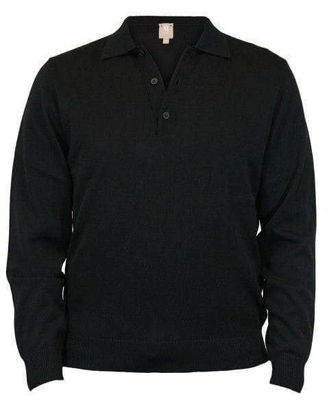 März Strick - Polo Knopf - schwarz
