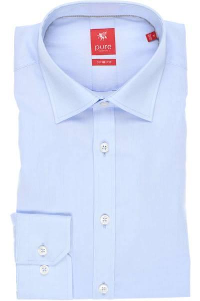 Pure Hemd - Slim Fit - hellblau, Einfarbig