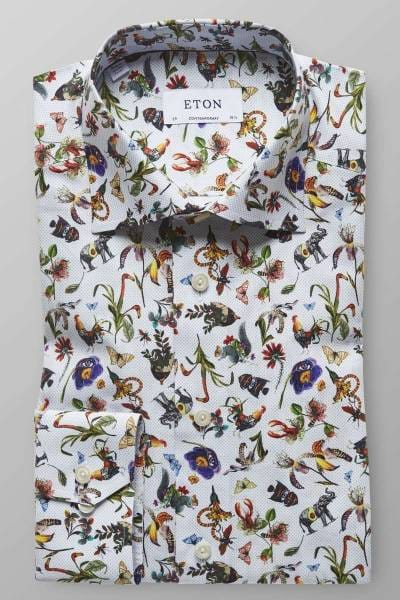 ETON Contemporary fit Hemd weiss, Gemustert