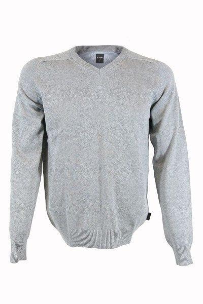 Olymp Strick - V-Ausschnitt Pullover - grau