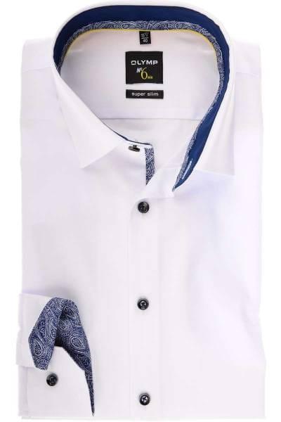 Olymp No. Six Super Slim Hemd weiss, Einfarbig