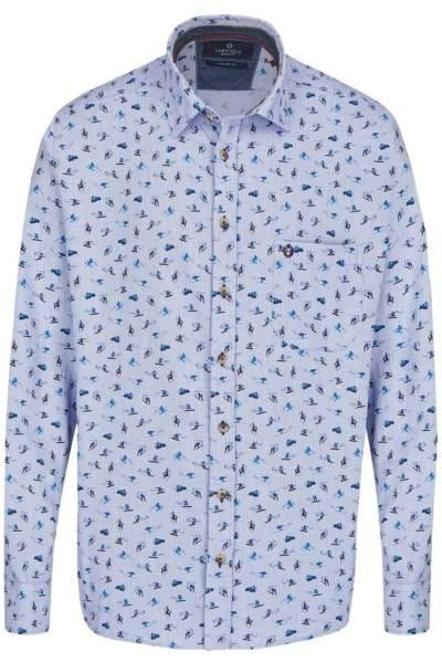 Hatico Regular Fit Hemd mittelblau, Gemustert