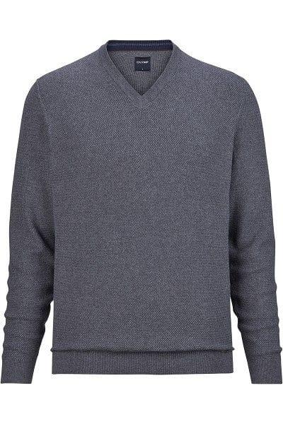 Olymp Strick - V-Ausschnitt Pullover - silbergrau