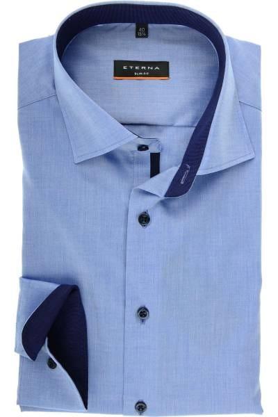 ETERNA Slim Fit Hemd bleu, Einfarbig