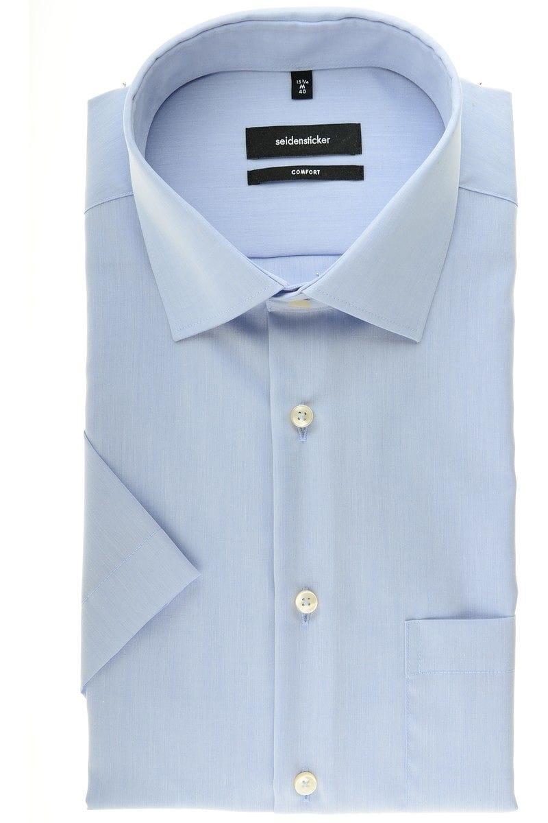 seidensticker comfort fit hemd in kurzarm 12cm hellblau einfarbig. Black Bedroom Furniture Sets. Home Design Ideas