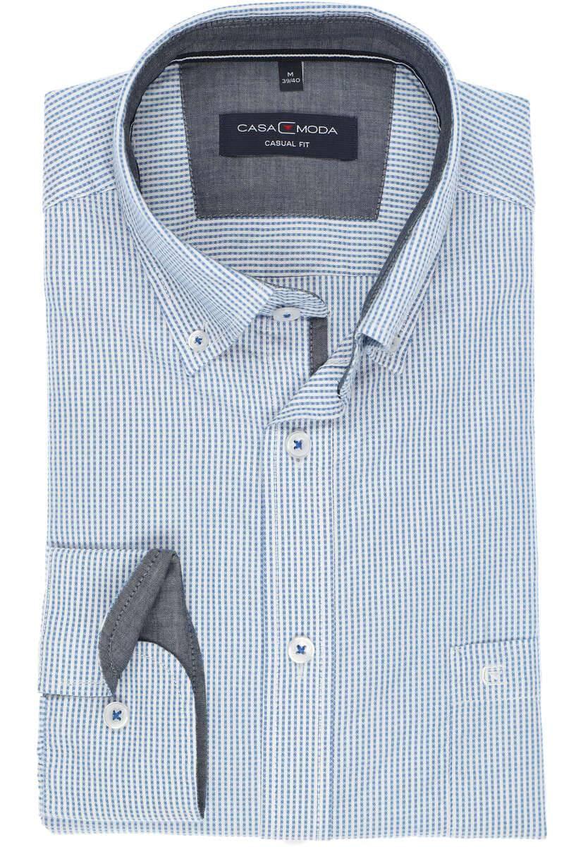 Eterna Slim Fit Hemd blau weiß gestreift bügelfrei extra langer Arm 72 cm