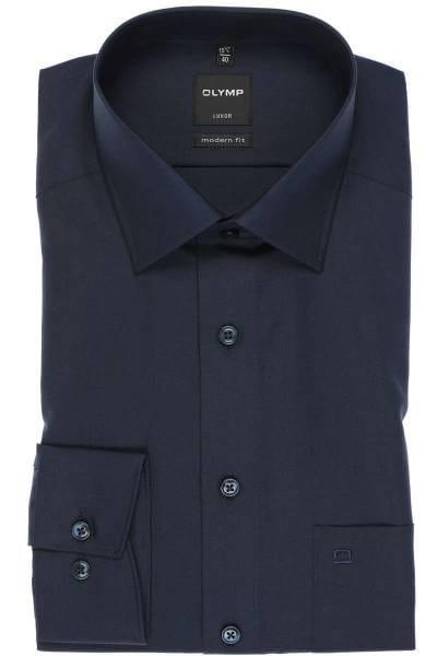 Olymp Luxor Modern Fit Hemd kobalt, Einfarbig