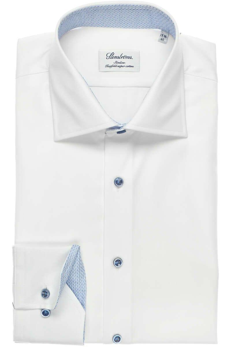 Stenströms Slimline Hemd weiß, Einfarbig 39 - M