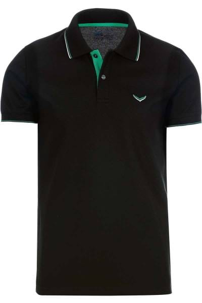 TRIGEMA Slim Fit Poloshirt schwarz, Einfarbig