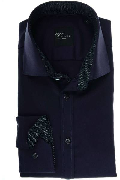 Venti Slim Fit Hemd violett/schwarz, Strukturiert
