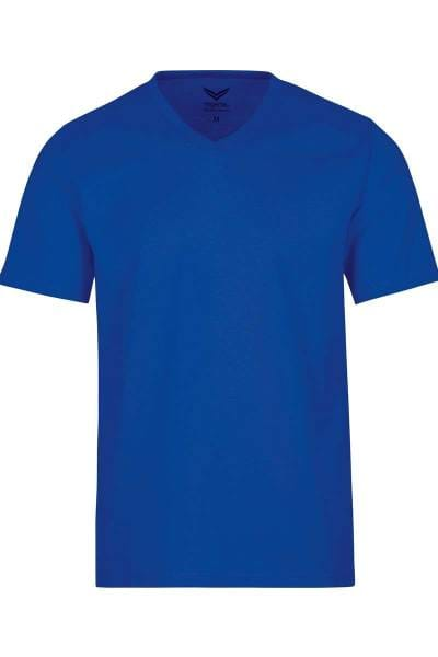 TRIGEMA T-Shirt V-Ausschnitt royal, einfarbig