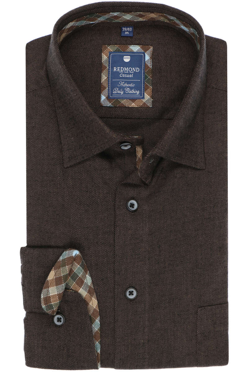 Redmond Regular Fit Hemd braun, Einfarbig 6XL