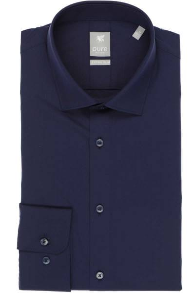 Pure Extra Slim Hemd marine, Einfarbig